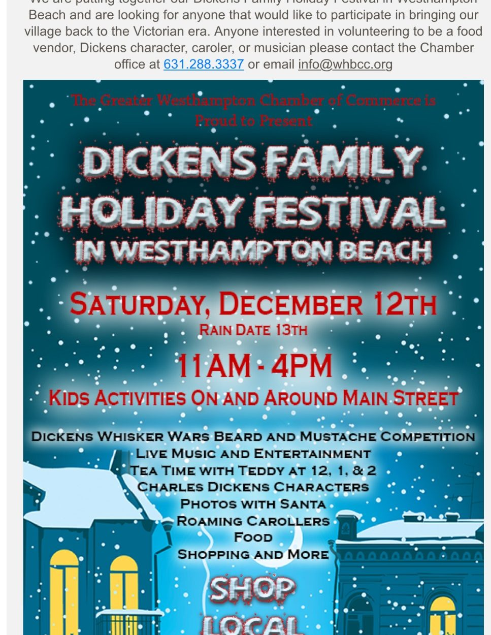 Join MBP at the Dickens Family Holiday Festival