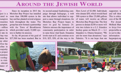 Moriches Bay Project Featured in Long Island Jewish World