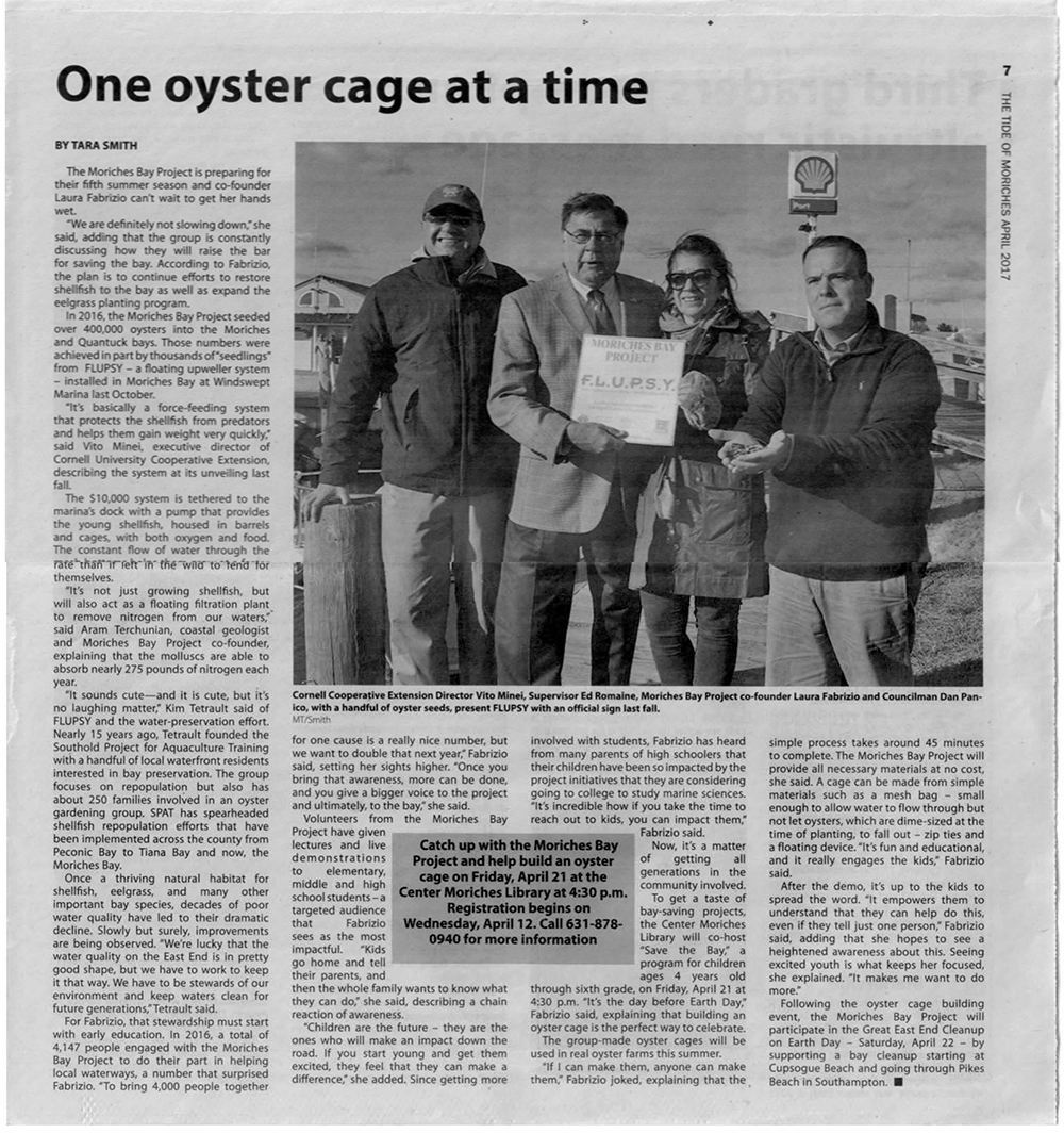Moriches Bay Project Featured in The Tide of Moriches